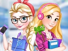 Elsa And Rapunzel College Girls
